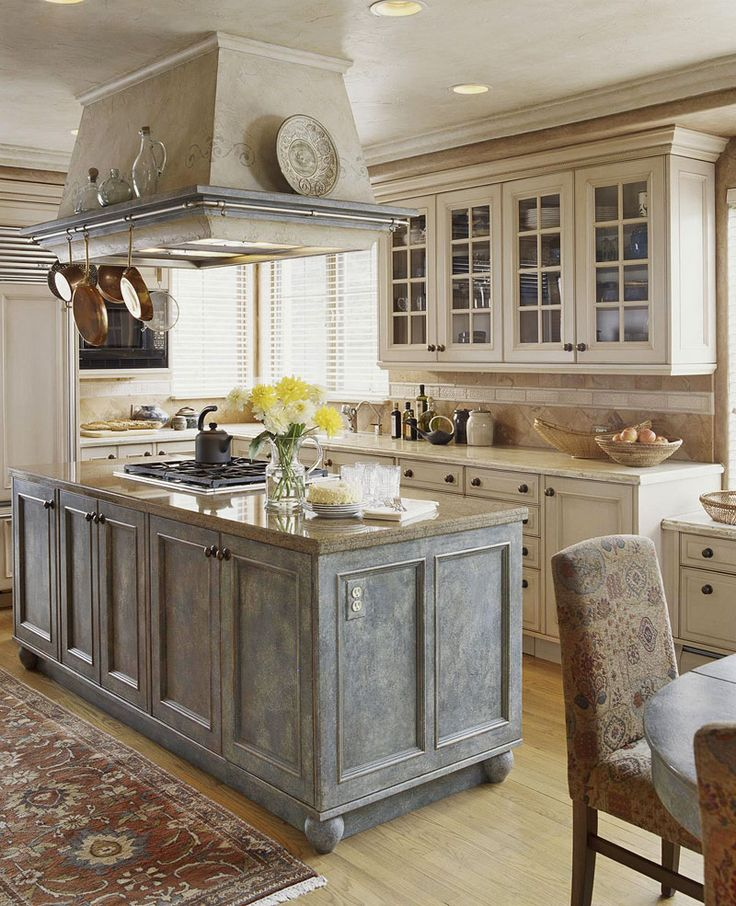 A European Inspired Kitchen Gets Its Rich Texture From An Etched Finish On  The Island