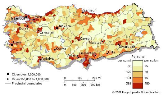 Population density of Turkey