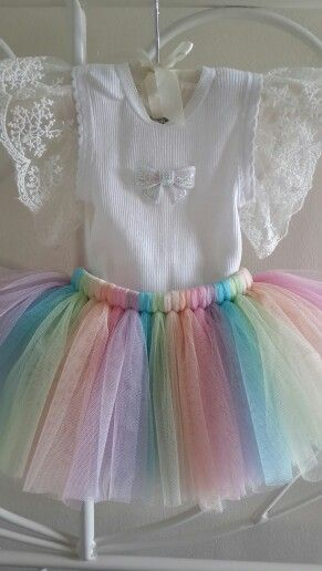 Rainbow Delicate Tutu with Lace On Sleeves matching top