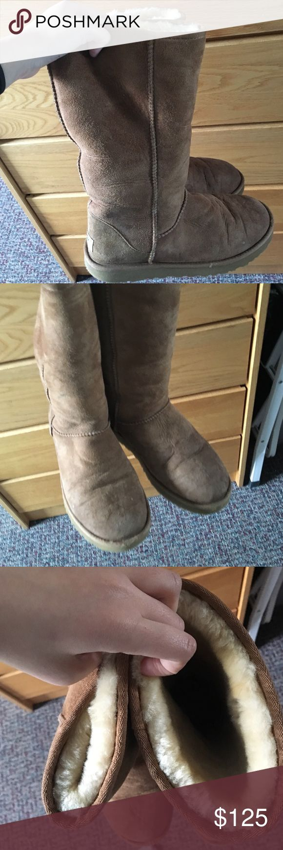 UGG BOOTS worn a couple of times but its still in very good condition! Doesn't smell and its still very clean!! Tall Classic Version! for people who love tall boots! UGG Shoes Winter & Rain Boots