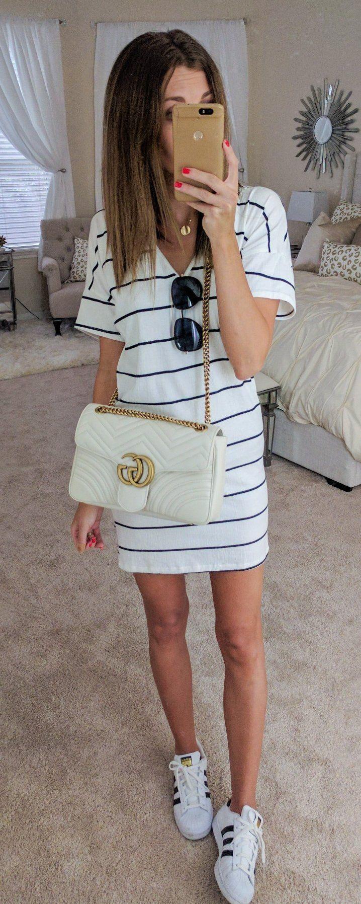 White Striped Dress & White Adidas Sneakers