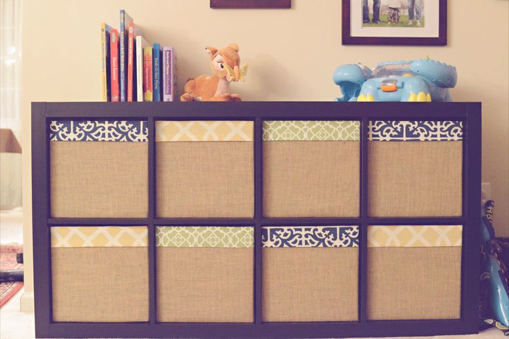 Ikea expedit drona box redone with fabric burlap for Fabric drawers ikea expedit