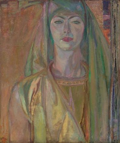 Green and gold, portrait of Vera by Frederick Horsman Varley