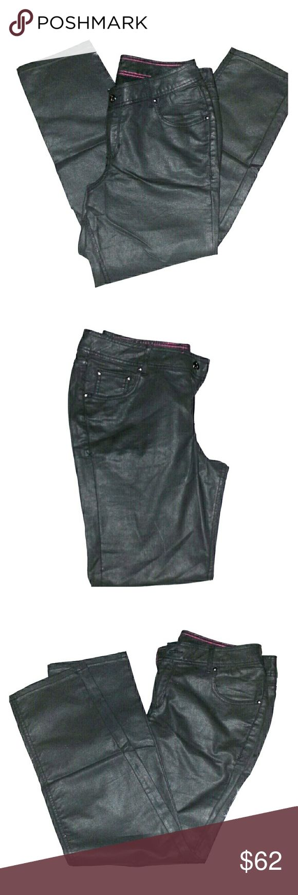 """Lane Bryant  Stretch Satin Jeggin. Sexy form fitting 5 pockets stretch satin charcoal gray Jeggin. Zipper front. 36"""" Waist and 30"""" Inseam. Worn once. Great condition Lane Bryant Pants Skinny"""