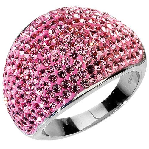 Anello in acciaio con strass rosa - disponibile in vari colori