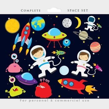 Free Space clipart - astronaut clip art, UFOs, aliens, spaceship, rocket, planets