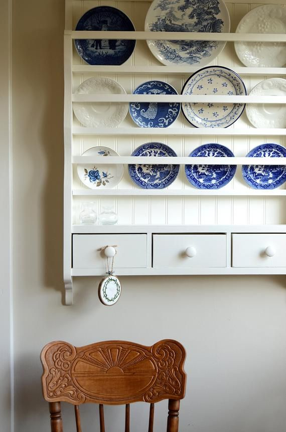 White Dish Rack Wall Plate Display Wooden Plate Rack Etsy