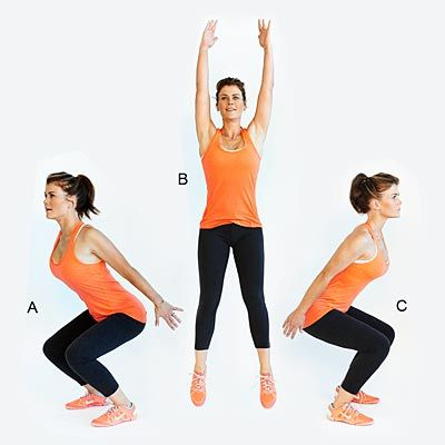 Are you bored with traditional squats? In this video, Alison Sweeney shows you how to do 180-jump squats, which really get your heart pumping in addition to strengthening your legs and butt. Look straight ahead while jumping to help with balance. Do 12 to 15 reps. | Health.com