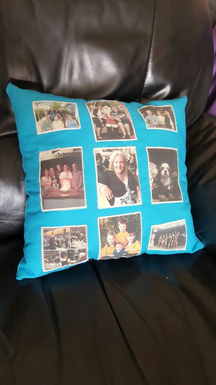 Memory pillow I made for my sister. Using Freezer paper calico, iron on to freezer paper cut to A4 put through photocopier, take off freezer paper and iron over the picture with paper then sew it onto anything you want to make!! Really cool gifts.