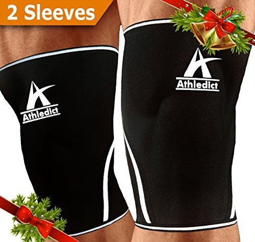 Knee Sleeves Compression Support - For Weightlifting CrossFit Squats Performance Increase