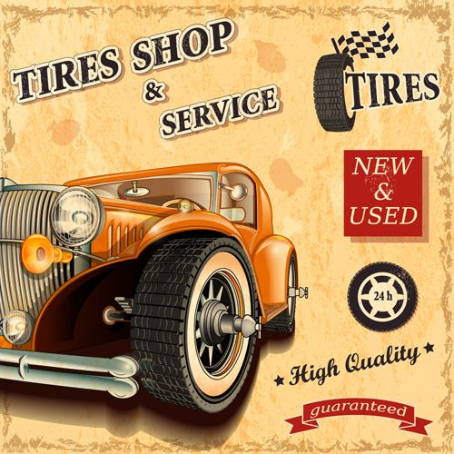 Retro auto service and repair poster vector 05 free