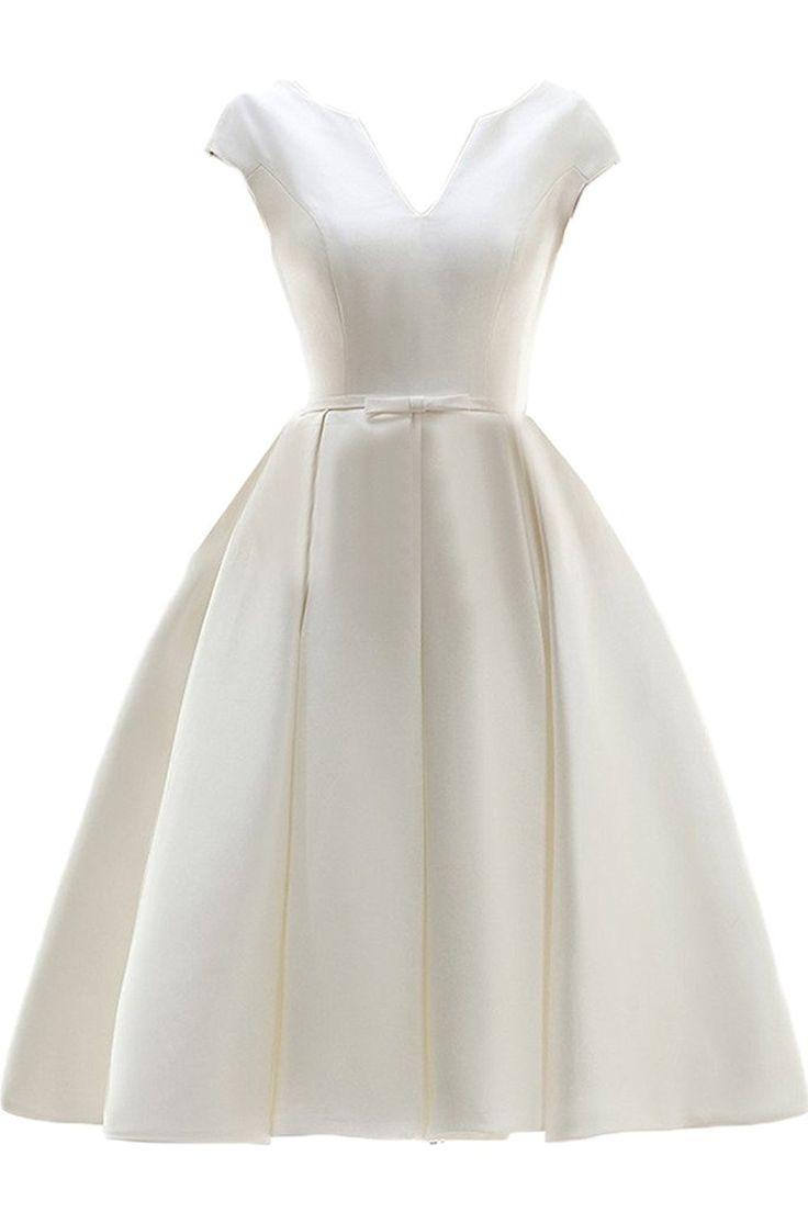 Gorgeous Bride Schlicht V-Ausschnitt Knielang A-Linie Abendkleider Cocktailkleid Ballkleider: Amazon.de: Bekleidung