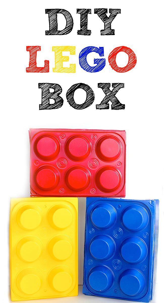 DIY LEGO Box made from dollar store muffin pans and a shoebox! Perfect LEGO party prop! Design Dazzle