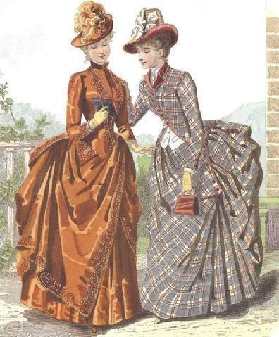 1886 fashion plate- beautiful copper colored gown w/ asymmetrical overskirt with fancy beading on it and the front of the bodice. Hat tipped up to the side with a fluff of feathers. Pretty plaid dress w/ the patterns going all different directions and touch of copper on its collar & piping on bodice edges.