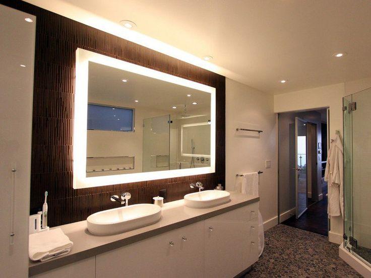 #Зеркало в ванной может быть оборудовано точечной подсветкой, но от верхнего освещения отказываться не стоит.  Равномерное заполнение пространства светом - еще один способ расширить ванную комнату. #смесители #сантехника #дизайн #ванна ✨ Сайт: http://santehnika-tut.ru/aksessuary-dlya-vannoj/