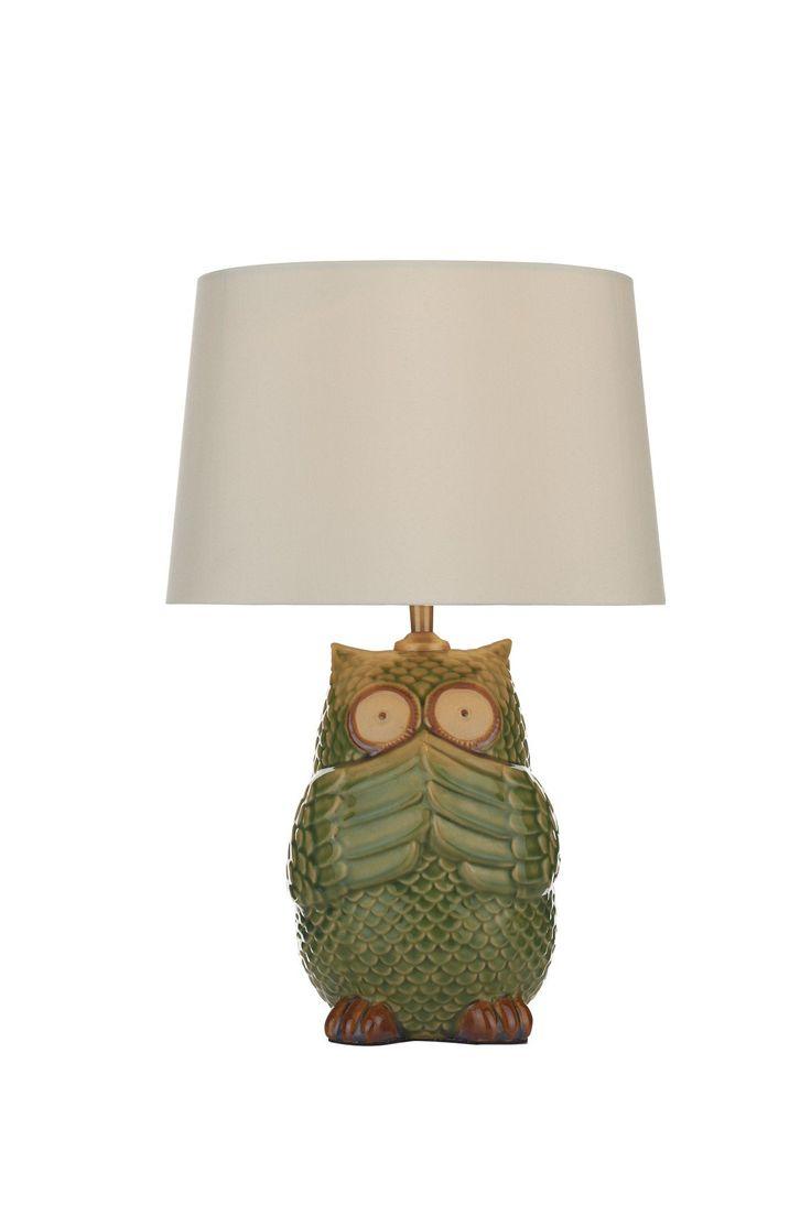 Lampe à poser Owl, céramique, abat-jour crème - France-Luminaires.com