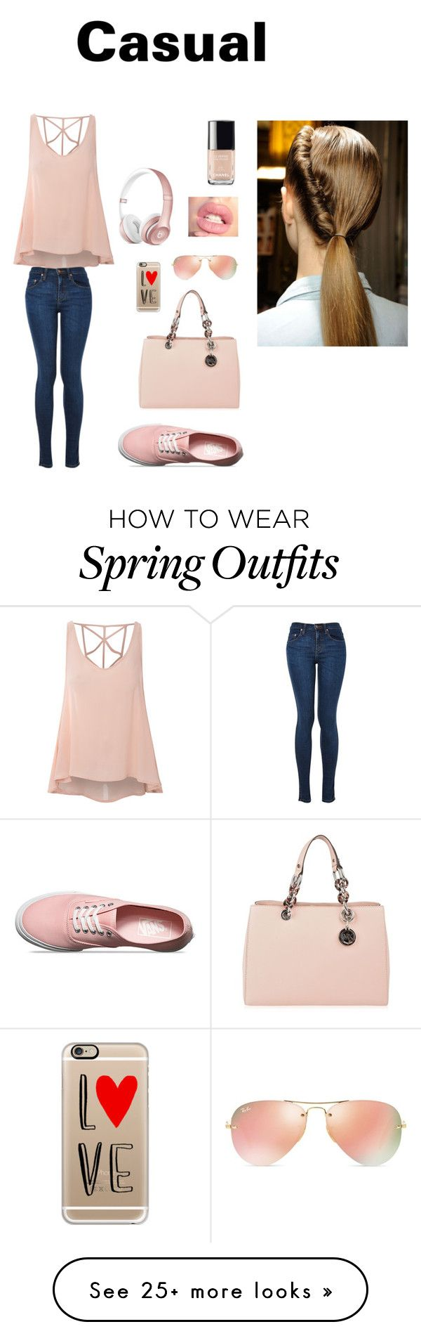 """Casual Outfit"" by manahil21 on Polyvore featuring Glamorous, Vans, MICHAEL Michael Kors, Casetify, Ray-Ban, Chanel, women's clothing, women, female and woman"