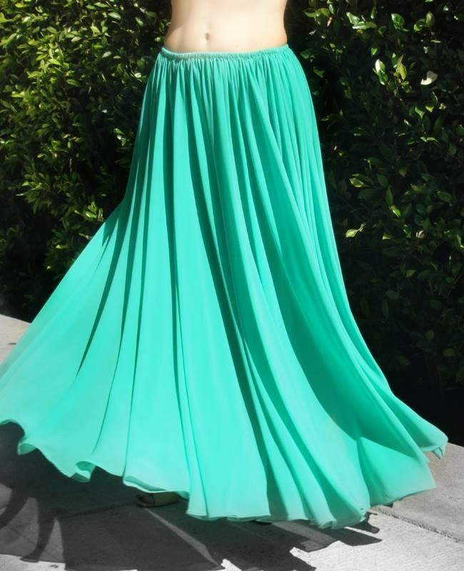 Ameynra fashion full circle skirt - Aqua-green chiffon, Size XL (1X) New Full circle chiffon skirt. We make skirts using 60-inches wide chiffon, and there is almost twice more fabrics than on skirts that others make using 45-inches wide chiffo...