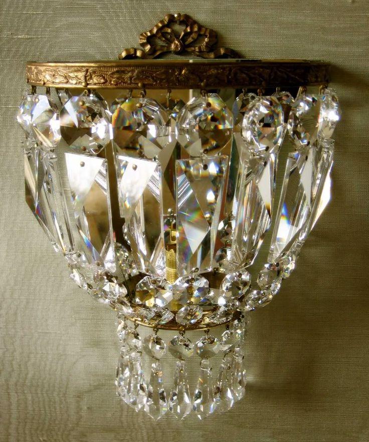 french vintage ormolu wall light - I have vintage Swedish crystal sconces something like this.