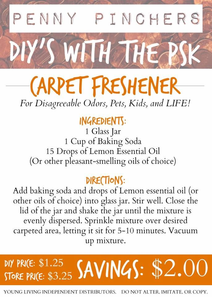 "DIY RECIPE   Carpet Freshener  Though using carpet freshening powders are a popular ""solution"" for cleansing and deodorizing, most all store-bought carpet fresheners contain an incredibly long list of toxic and dangerous ingredients. These toxins include formaldehyde, sodium hydroxide and pesticides - all of which can produce physical, internal, external, emotional, and even life-threatening side effects.  Using store bought carpet fresheners can not only put your current health situation…"