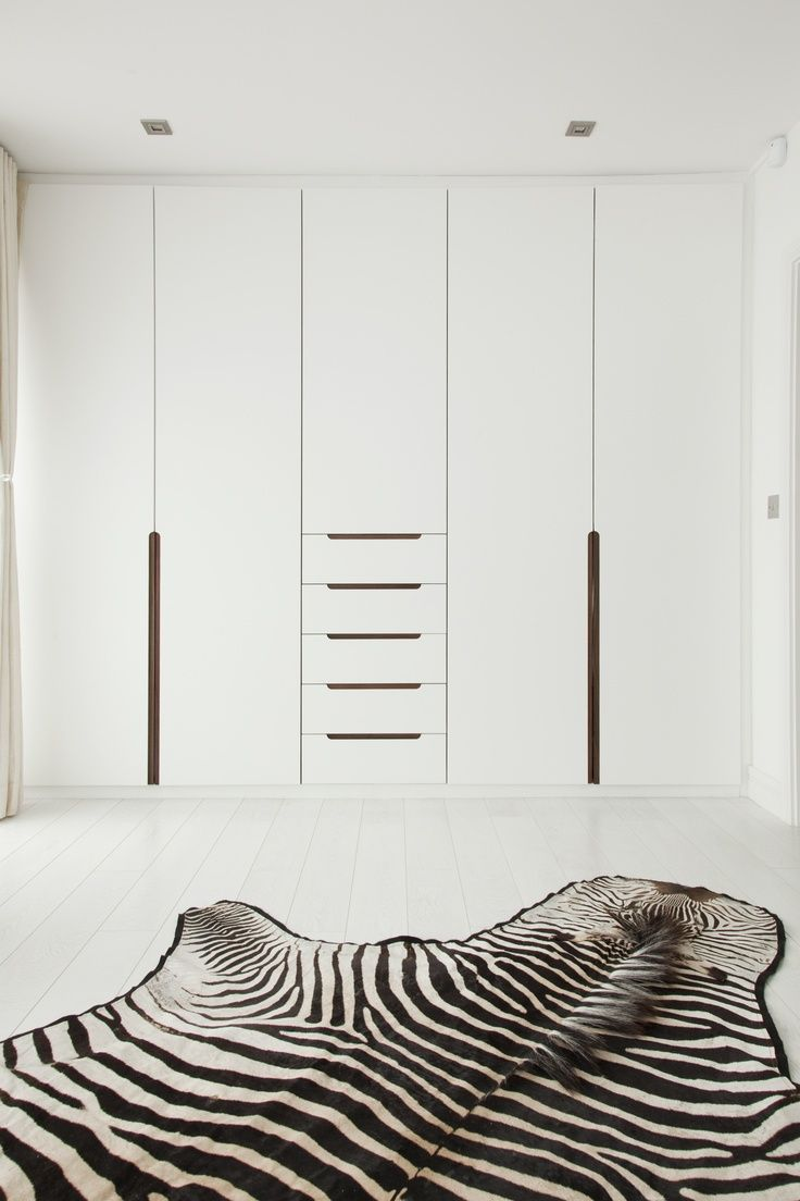 Wardrobe doors with recess handles White  Minimal