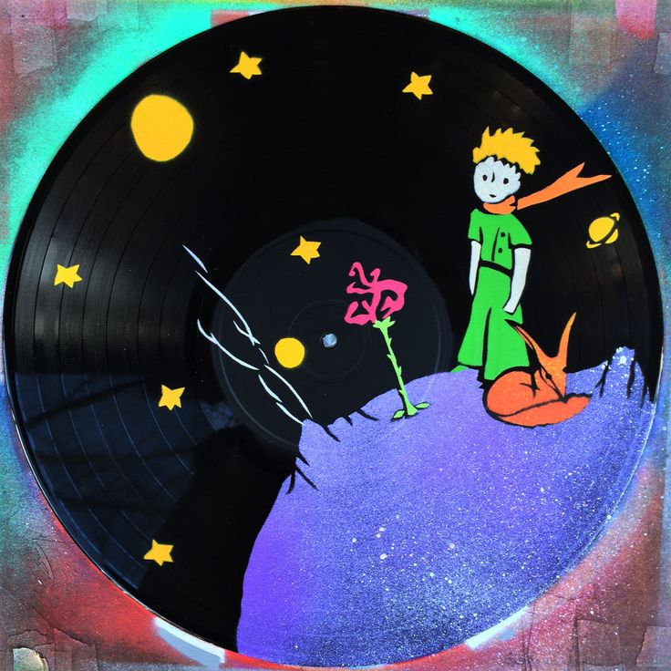 Artistic version of THE LITTLE PRINCE Le Petit Prince vinyl record spray paint handmade clock by GoVinyls on Etsy