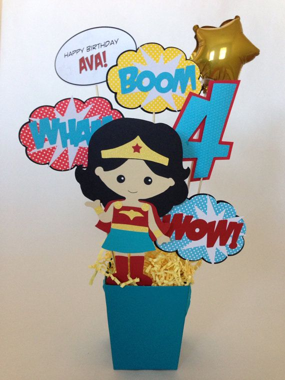 Wonder Girl Super Hero Birthday Party Centerpiece