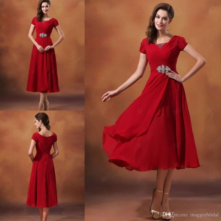 Pastel pink bridesmaid dresses top quality a line wine red for Red tea length wedding dress
