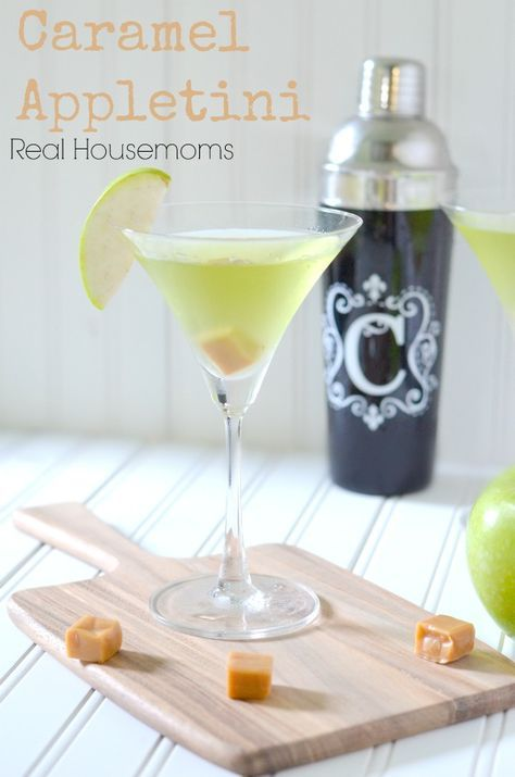 Caramel Appletini | Real Housemoms | This is the perfect drink for a grown up Halloween!