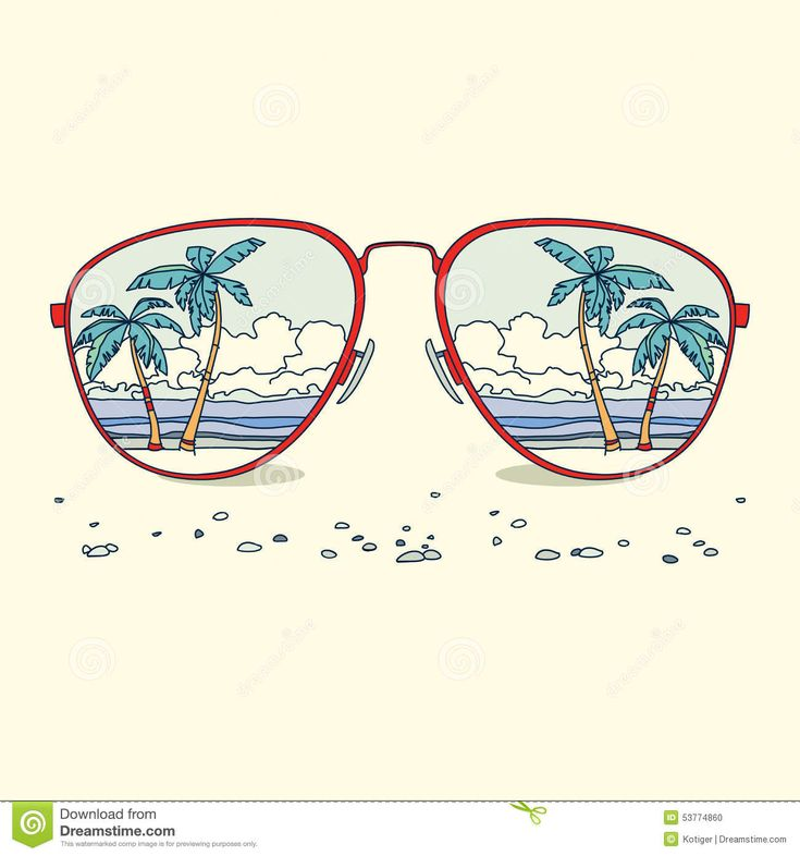 Reflection of the beach, palm trees, beach in sunglasses. Vector background.