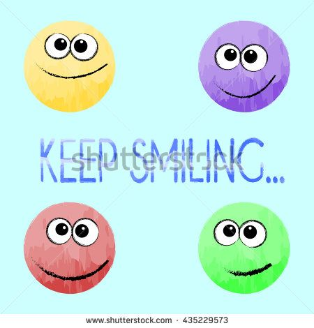 """""""keep smiling"""" #motivational #inspirational #quote. Hand #lettering. #Poster #design with #smiling #faces made with #watercolor."""