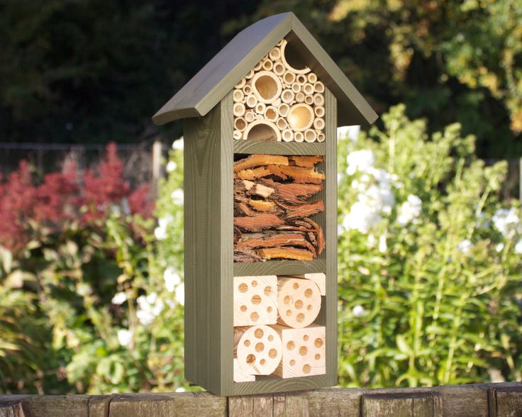 Mason Bee House, Insect Hotel, Bug Box three tier, in 'Old English Green'. Can be personalised. de Wudwerx en Etsy https://www.etsy.com/es/listing/108661896/mason-bee-house-insect-hotel-bug-box