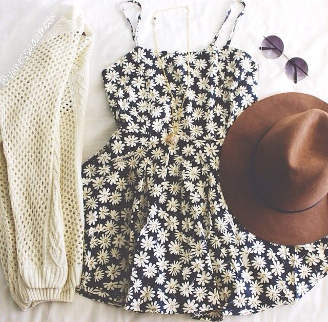 Cute outfit, would be perfect for Spring/Summer. Cream cardi and pretty floral dress + hat and stunna shades!