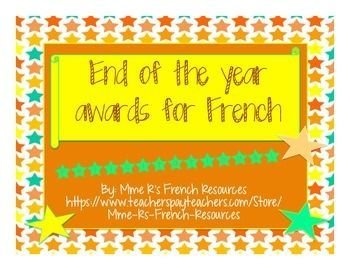 Do you want to celebrate your French students' success with a special award?  These reward certificates are perfect for your middle school or high school French class!Certificats: Toujours  l'heureBon travail toute l'anneBon travail ce semestreToujours optimisteToujours prpar(e)   -1 boy and 1 girl certificatePersrvrancePrsence parfaiteResponsableComdien/Comdienne   Certificat de Mrite - can be used as a general rewardActrice/Acteur extraordinaire  - 1 boy and 1 girl certificateTrs…