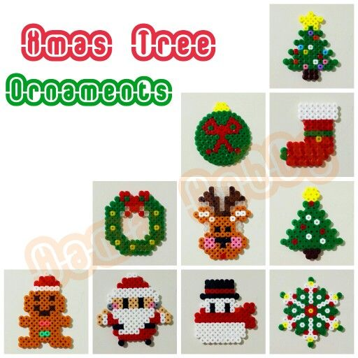 Christmas ornaments hama perler beads by Love Cupcoonka - www.facebook.com/hamabeadshobby
