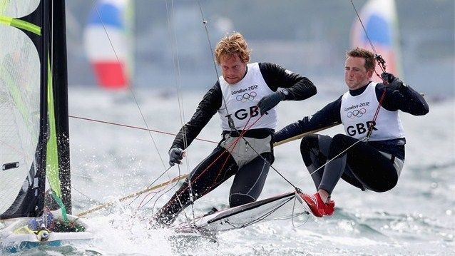 Stevie Morrison and Ben Rhodes of Great Britain compete in the men's 49er Sailing on Day 6 of the London 2012 Olympic Games at Weymouth & Portland.