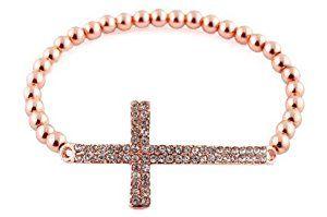 Rose Gold Iced Out Cross Beaded Bracelet Shamballah  http://electmejewellery.com/jewelry/bracelets/strand/rose-gold-iced-out-cross-beaded-bracelet-shamballah-com/