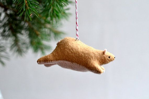 flying bear  christmas ornament by MountRoyalMint on Etsy, $36.00