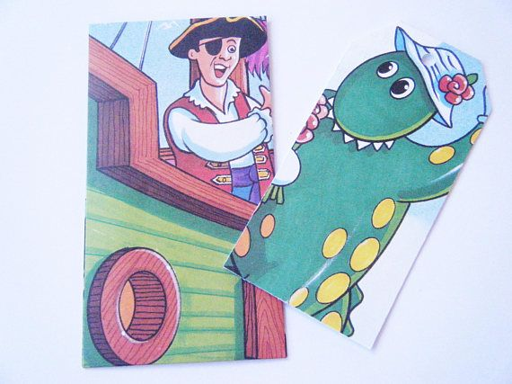 The Wiggles Captain Feathersword's Pirate School Upcycled Little Golden Book Set of 6 Envelopes and Matching Gift Tags