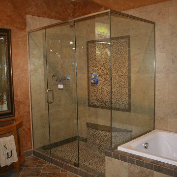 Framess Shower With A Metal Header Installed On Display At Floor U Decor  Plano By Dallas
