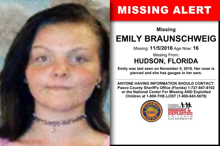 EMILY BRAUNSCHWEIG, Age Now: 16, Missing: 11/05/2016. Missing From HUDSON, FL. ANYONE HAVING INFORMATION SHOULD CONTACT: Pasco County Sheriff's Office (Florida) 1-727-847-8102.