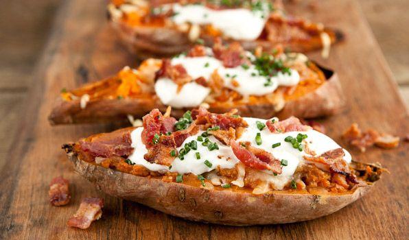 Cheesy Baked Sweet Potatoes