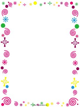 This free, printable border is decorated with pink curlicues and colorful…