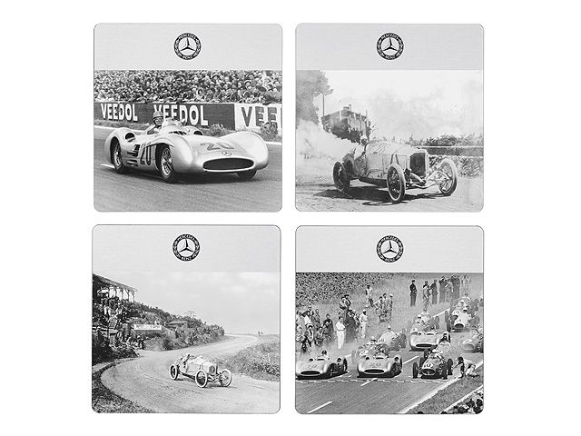 Part number:     B66952009  Set of coasters. Aluminium, with matt stained, anodised finish.  4 coasters featuring direct digital print of motor racing motifs from a bygone era.  Size 10 x 10 cm. Made in Germany.