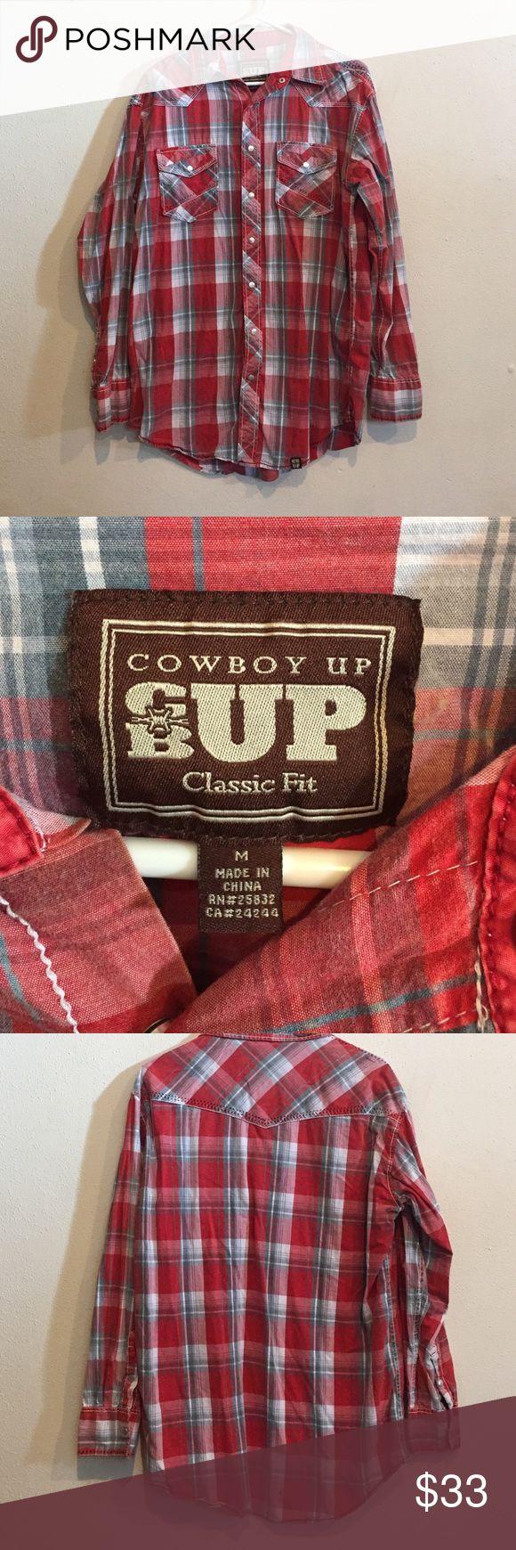 red plaid shirt Euc no signs of wear Cowboy Up Shirts Casual Button Down Shirts