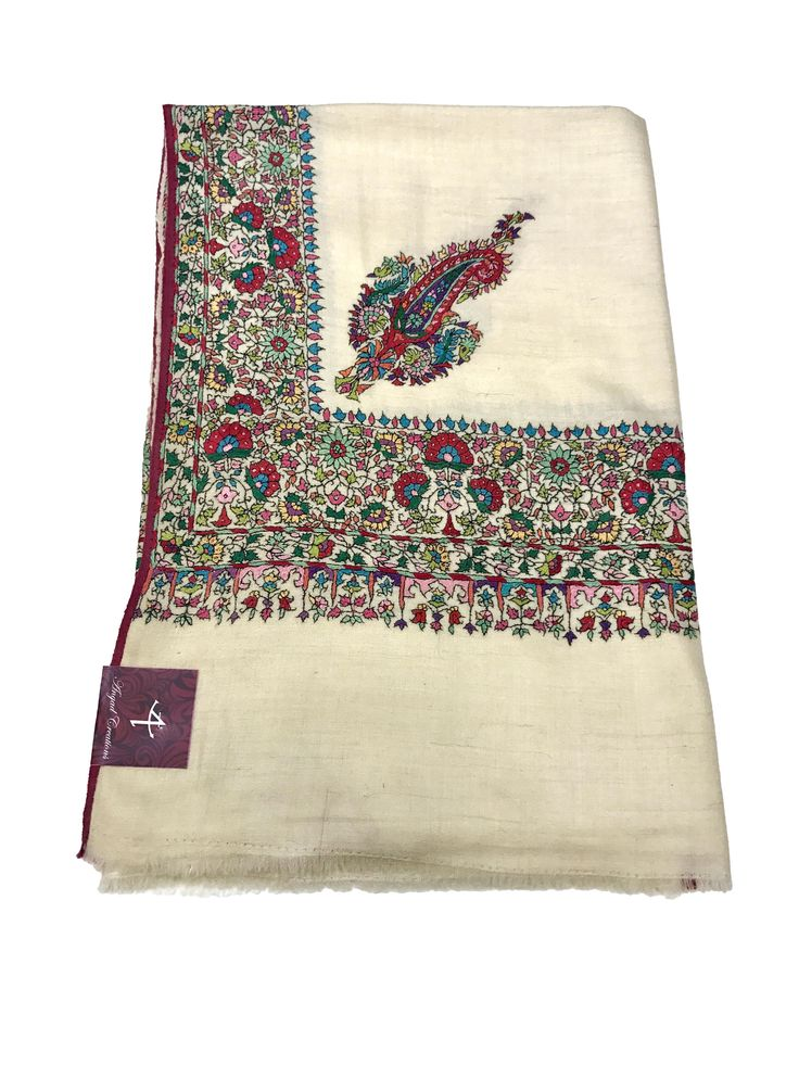 Papier Mache Hand Embroidered Pure Pashmina Shawl, Pure Cashmere Shawl, Wrap, Shawl, Hand Embroidery, Embroidered by AngadCreations on Etsy #pure #pashmina #cashmere #hand #embroidered #papier #mache  #work #kashmiri #embroidery #natural #Kashmir #multi #colour #shawl #stole #orni #india #wrap #scarf #indian #traditional #ethnic #wear