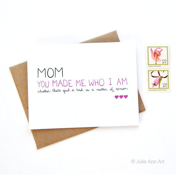 Birthday Card for Mom  Mothers Birthday Card  You by JulieAnnArt