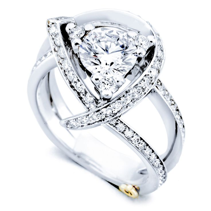 A truly unique engagement ring by Mark Schneider Design. It features 93 diamonds totaling .74 cts! Available in yellow, white, rose gold or platinum!