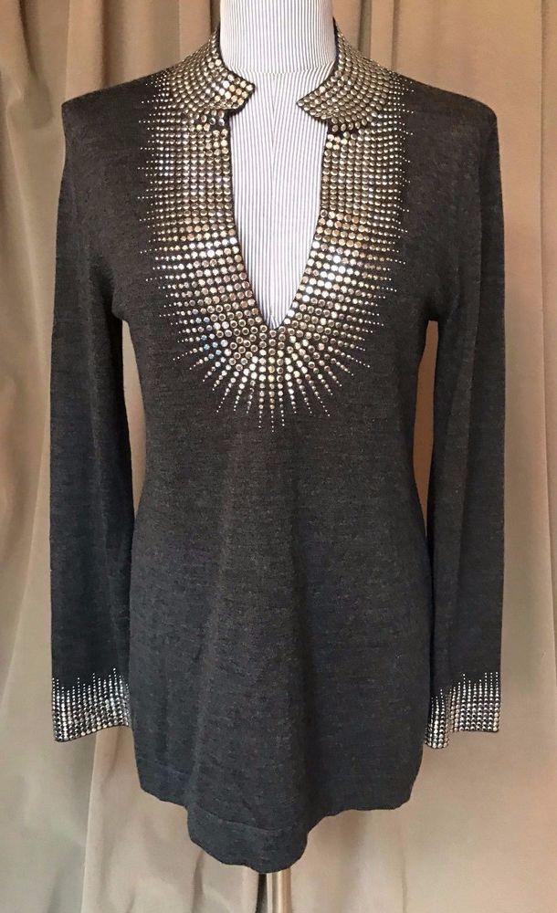 Tory Burch ASNEW gray wilver studded long tunic merino wool sweater M #ToryBurch #tunic #versatile