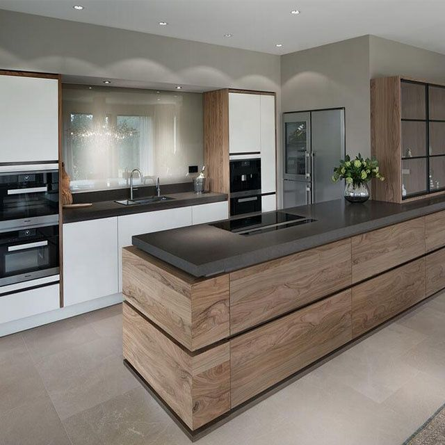 High End Contemporary Wood Veneer Kitchen Furniture Cabinets